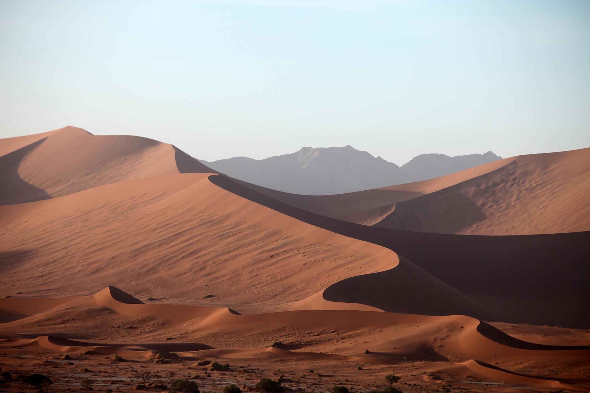Namibian desert and majestic sand dunes.