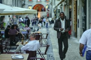 Central Lisbon has lots of cafes and lively attractions for people.