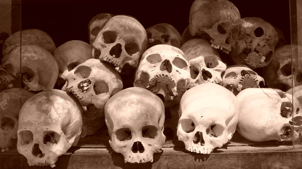 Victims of the Khmer Rouge, Cheung Ek killing fields, near Pnomh Penh. Photo: Satbir Singh