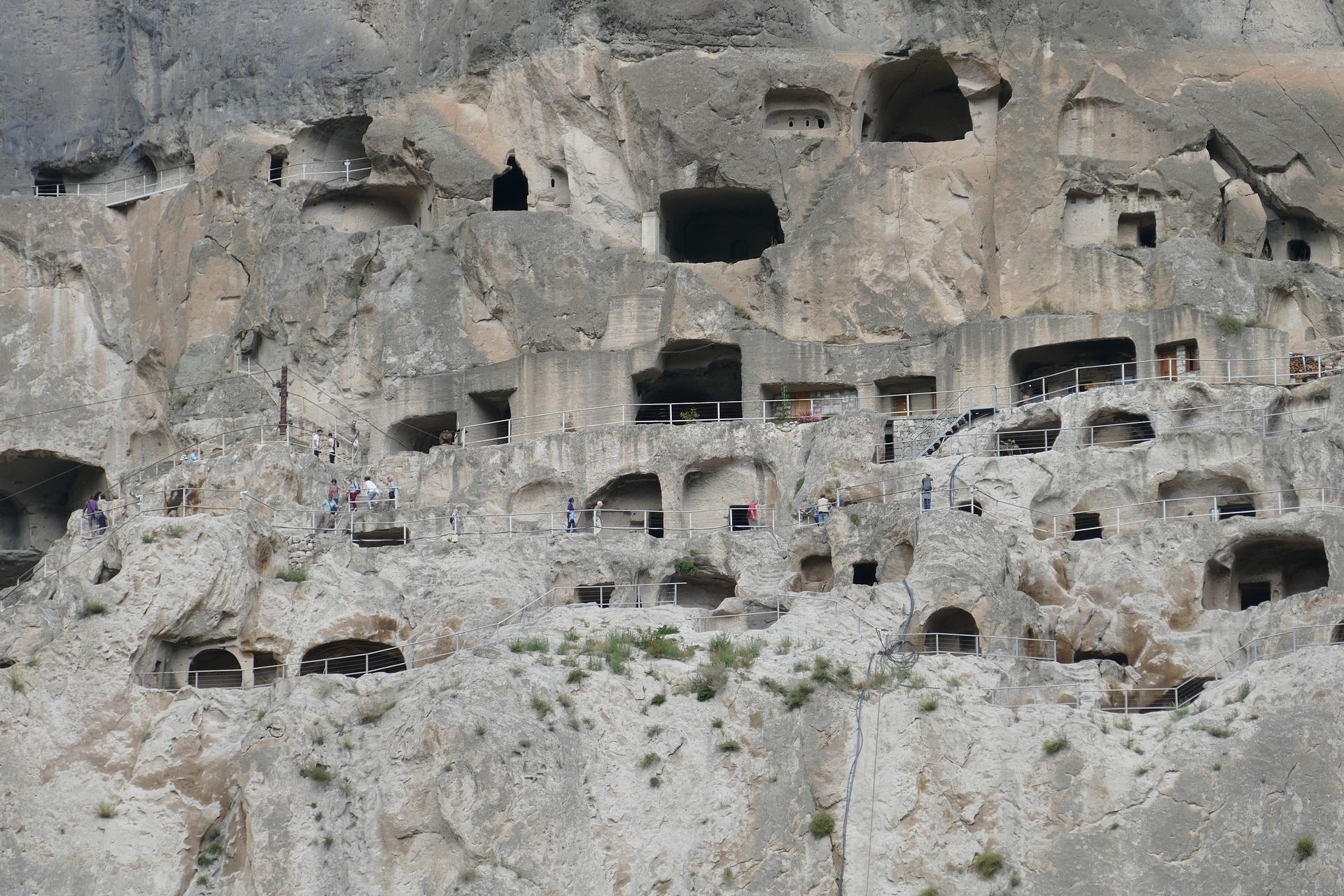 The Vardzia Fortress was primarily built during the second half of the 12th Century. It stretched 13 levels and contained 6,000 apartments, a throne room and a large church with an external bell tower.