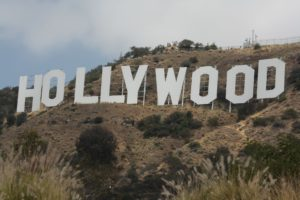 The famed Hollywood sign overlooking Los Angeles
