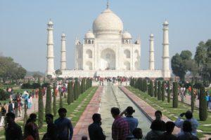 Visitors to the Taj Mahal.