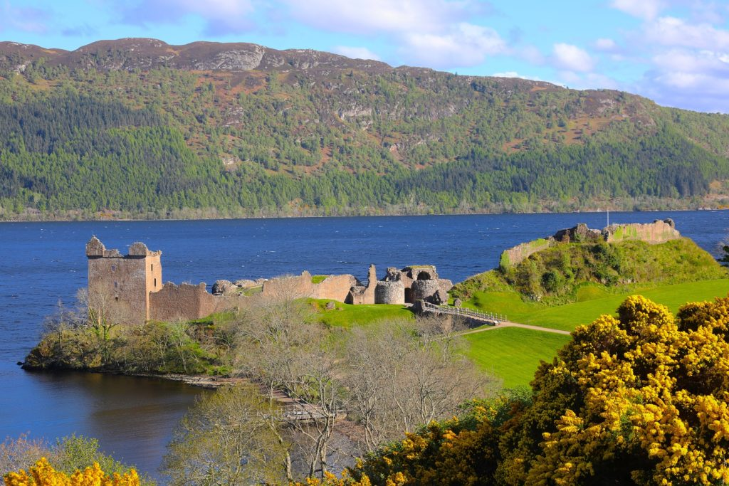 Urquhart Castle along Loch Ness in the Scottish Highlands.