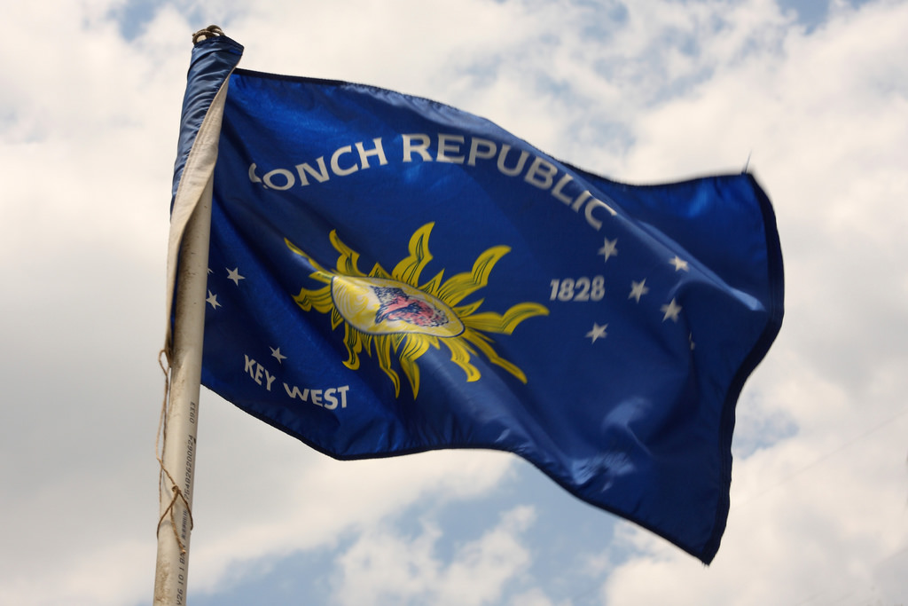 Photo of Conch Republic flag of Key West was taken by Sam Howzit.