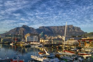 View of Cape Town, South Africa and Table Mountain.