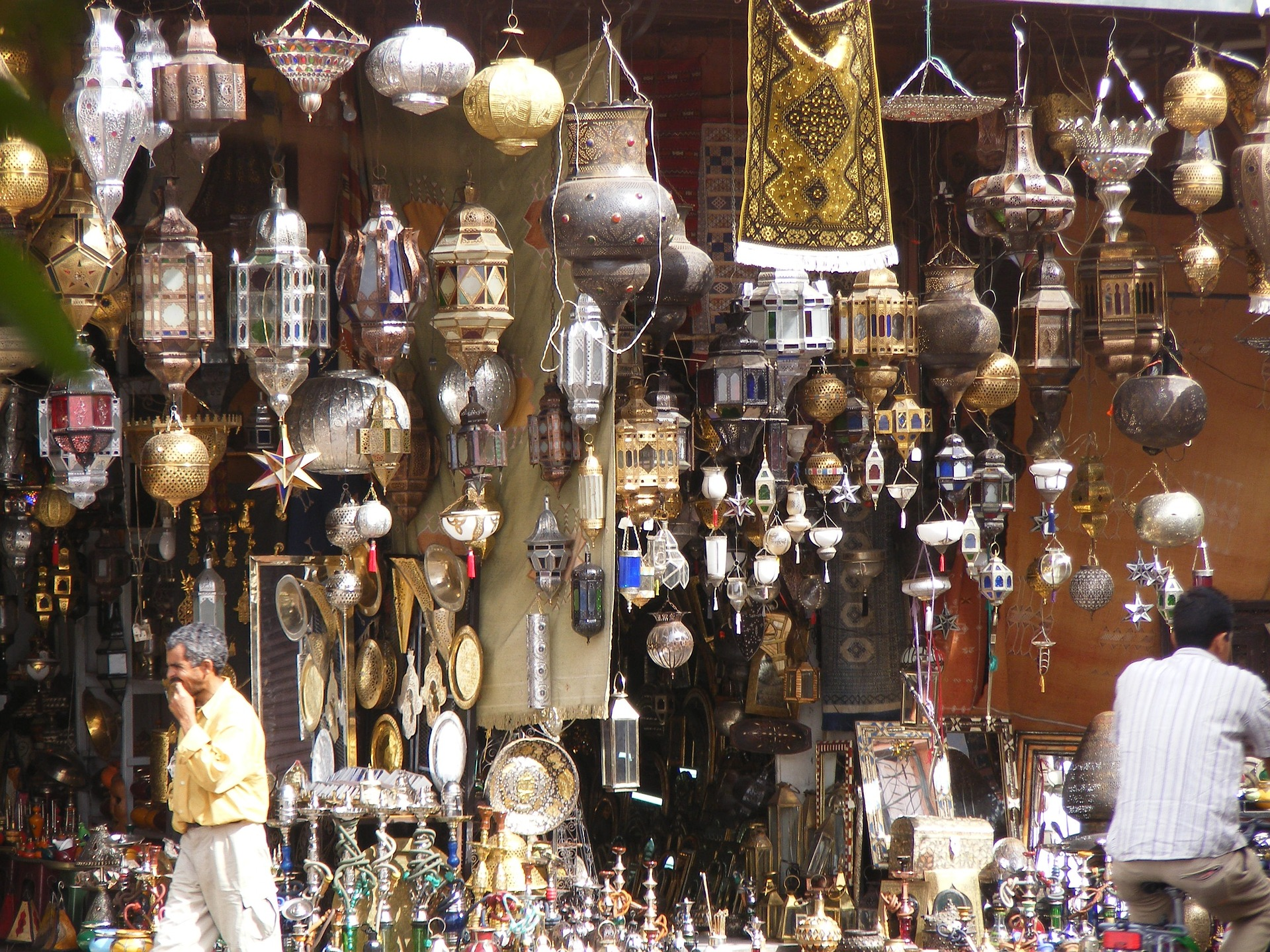 Lamps beautifully displayed in a souk within the Marrakech medina.