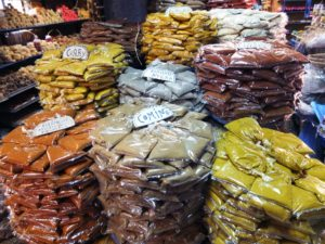 An array of spices can be found in the spice market.