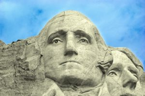 The face of President George Washington on Mount Rushmore.