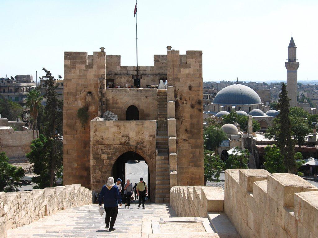Entrance to the Citadel in Aleppo, Syria.