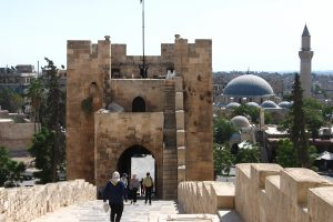 Entrance to the Citadel in Aleppo, Syria.