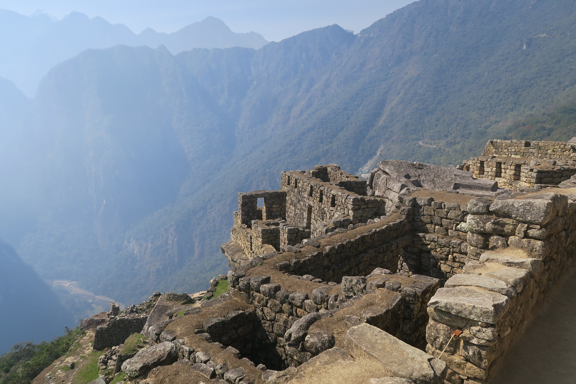 This image shows the steep terrain from a road below to Machu Picchu.