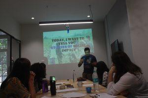 Volungearing training photo using social media to make an impact. Photo: Bianca Caruana