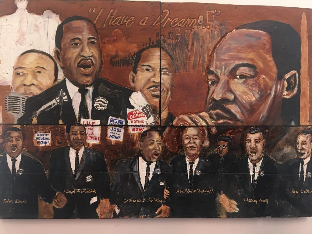 Mural of freedom riders for civil rights
