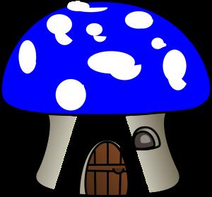 Graphic of a tiny mushroom house.