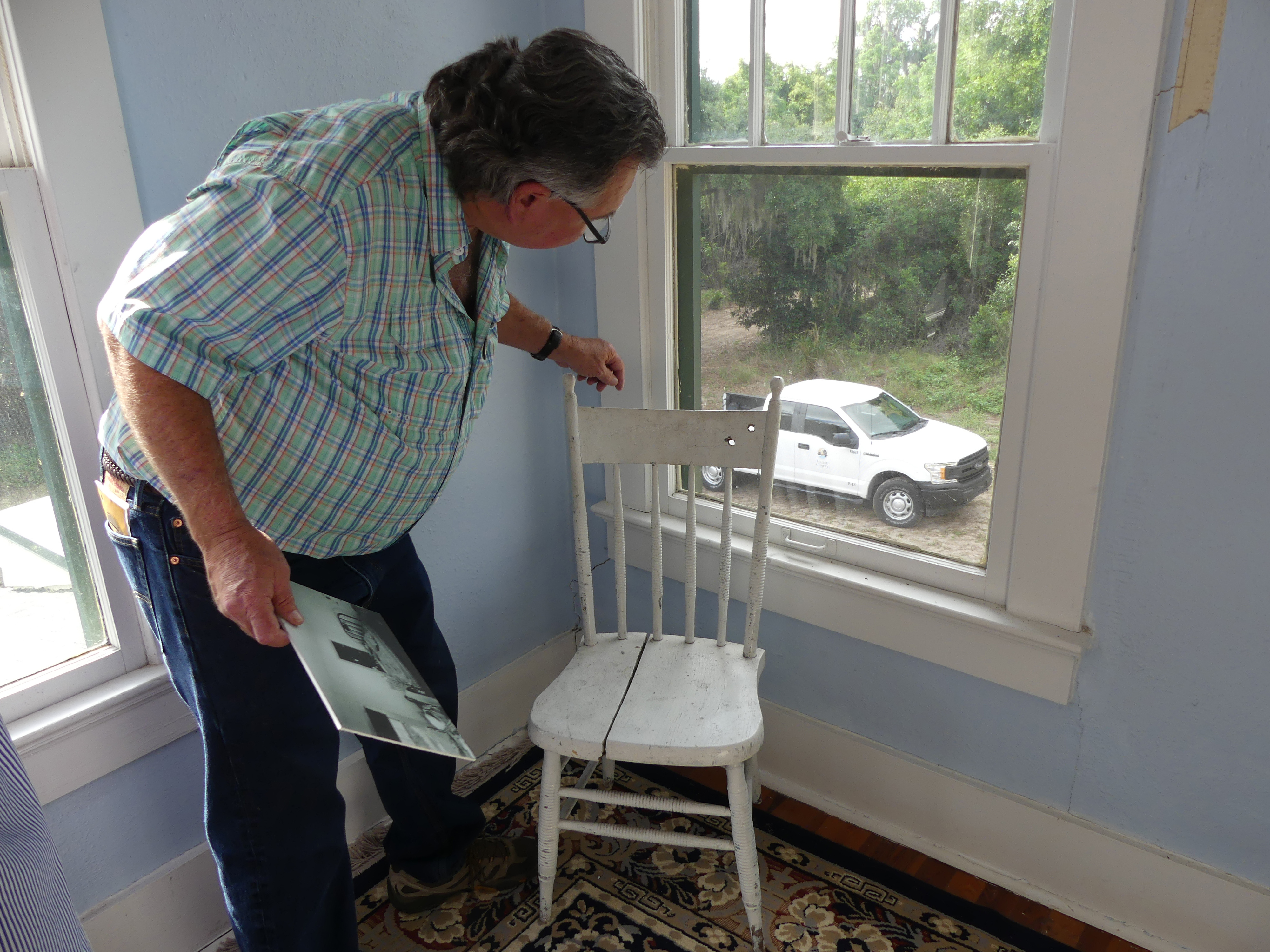 Chair with bullet holes still in it from the Barker shootout with the FBI. Photo: Kathleen Walls