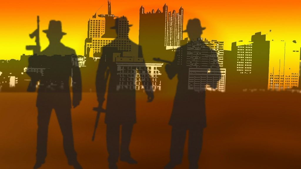 Graphic of gangsters with urban skyline