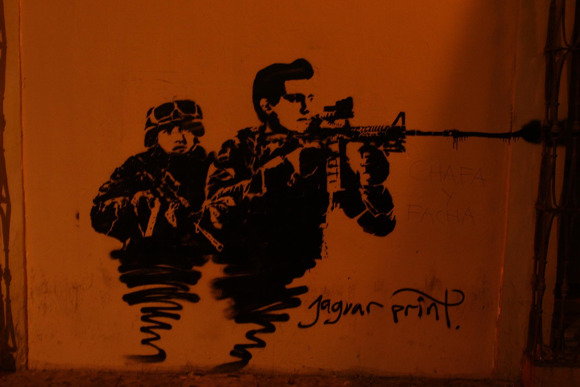 An urban street art mural in Oaxaca