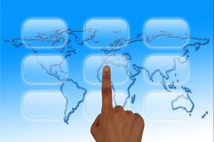 World map with touch screen travel app