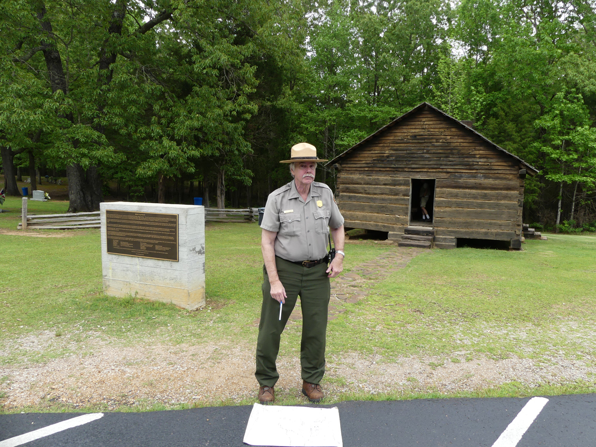 Ranger in front of the replica of the Shiloh Church. Photo: Kathleen Walls