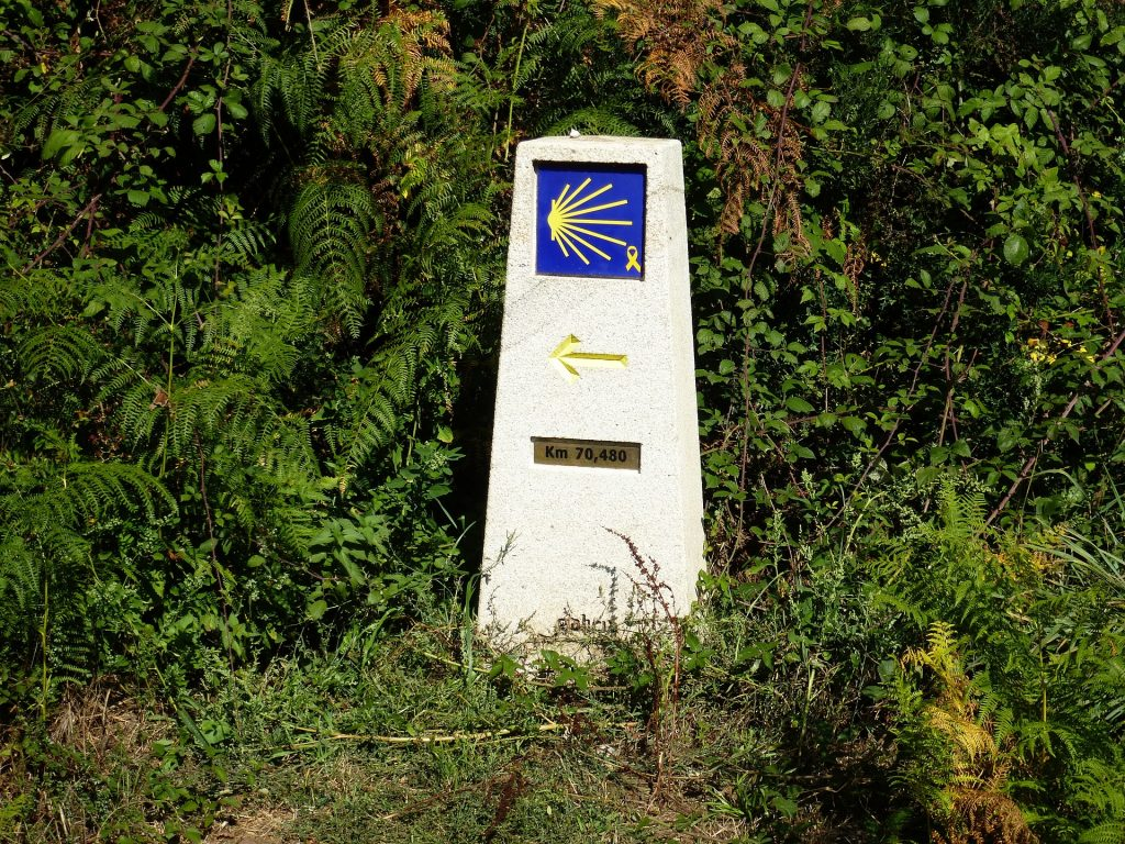 A directional sign on the Camino pointing the way