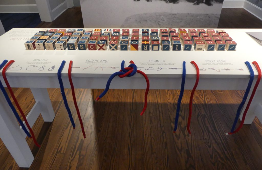 Knot tying and signal flag exhibit. Photo Kathleen Walls