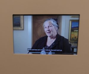 Video recording of a resident's recollections of World War II. Photo: Kathleen Walls