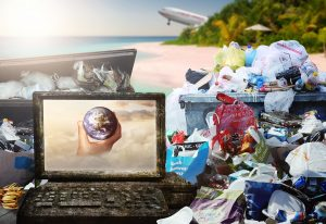 Pile of plastic rubbish on a tropical beach with a plane taking off in the background.