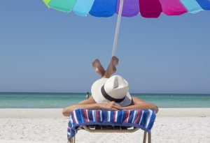 Vacation photo of a woman on a beach