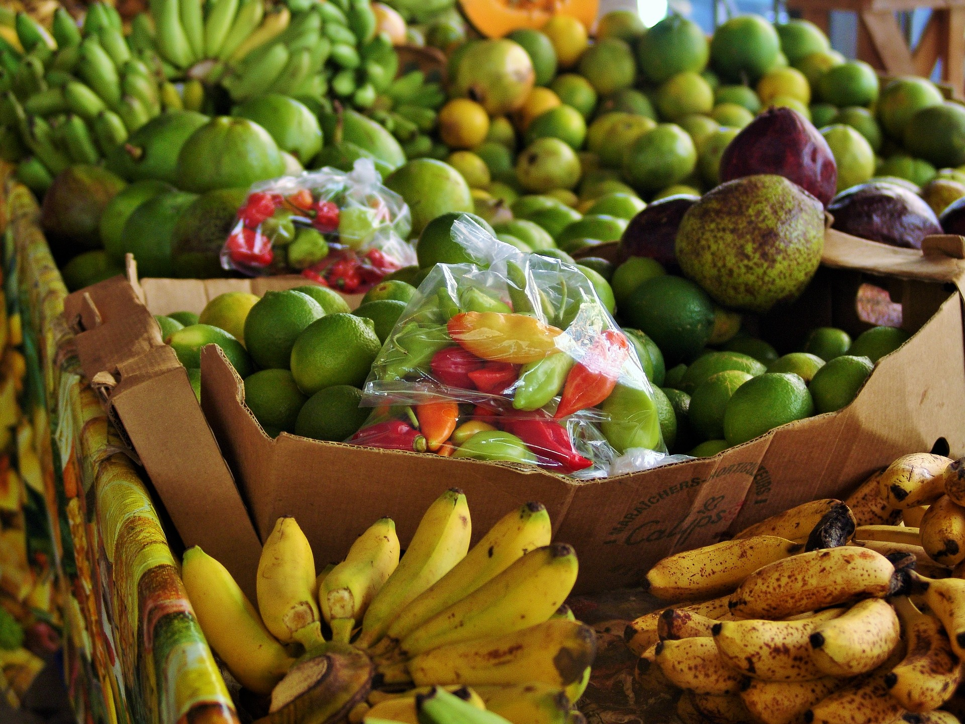 Fruit market in the Caribbean