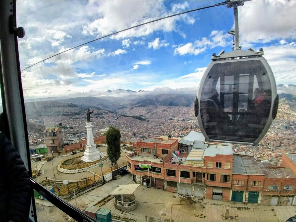 Photo credit: Scott Mansfield / The Teleferica in La Paz is a Swiss-made gondola system that whisks passengers across the city, above the traffic-clogged streets.