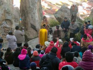 Photo credit: Renee Alexander / A local shaman blesses an Inca warrior and maidens at the base of the Horca del Inca.