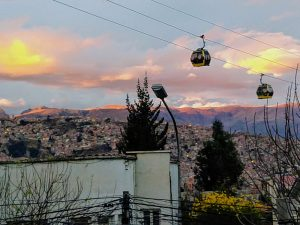 Photo credit: Renee Alexander / The Teleferica in La Paz is a Swiss-made gondola system that whisks passengers across the city, above the traffic-clogged streets.
