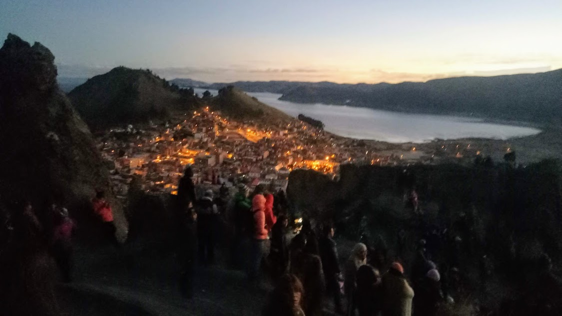 Photo credit: Simon Macara / Pre sunrise view of Lake Copacabana and Lake Titicaca from the site of the Horca del Inca.