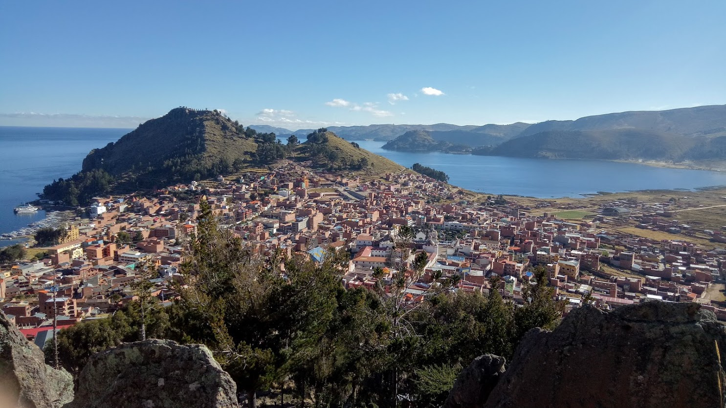 Photo credit: Simon Macara / Post sunrise view of Copacabana from the site of the Horca del Inca.