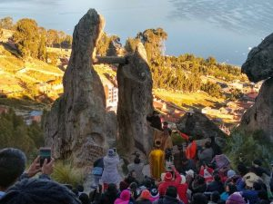 Photo credit: Renee Alexander / A sunbeam passes through a strategic piercing in a nearby rock outcropping to illuminate the sun gate on the Winter Solstice.