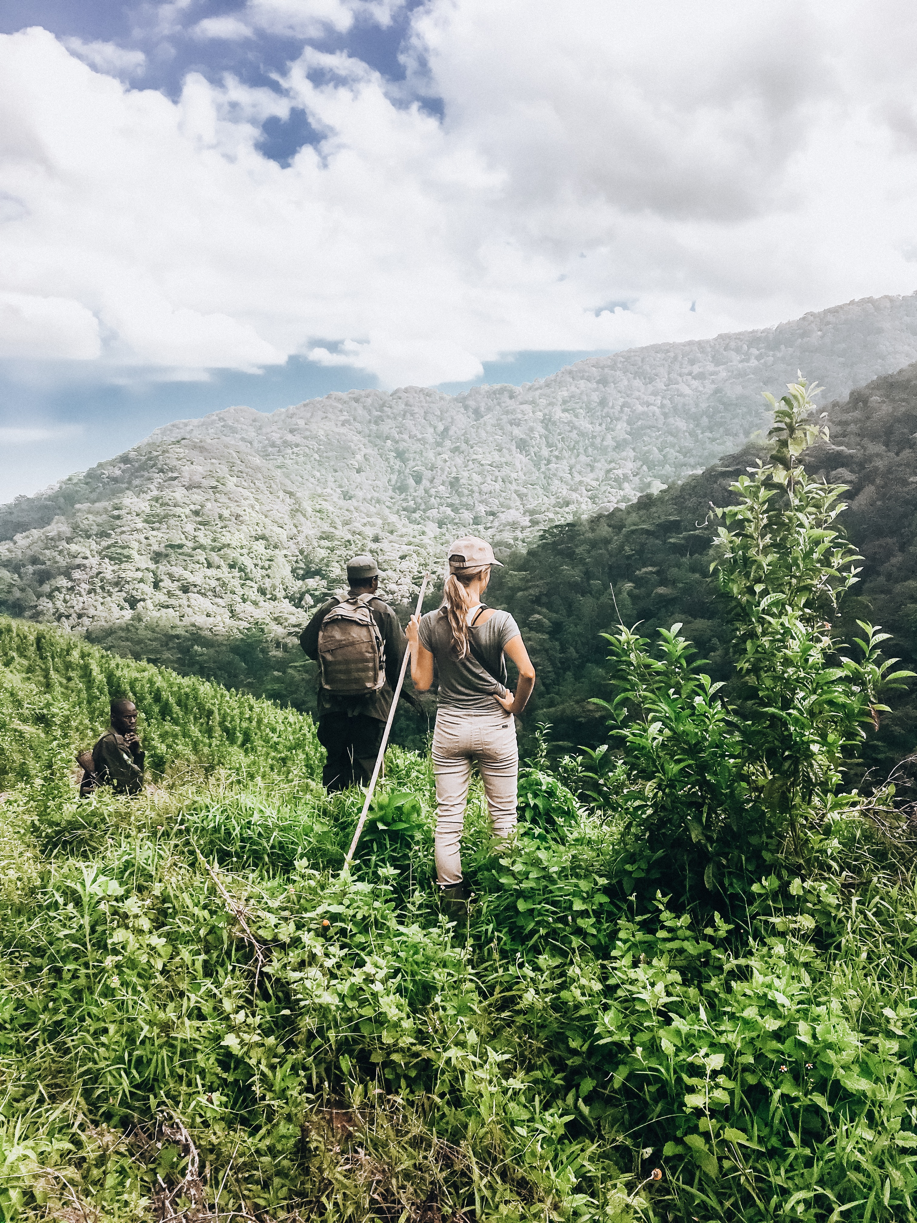 Author with guide in Uganda's Bwindi Impenetrable Forest