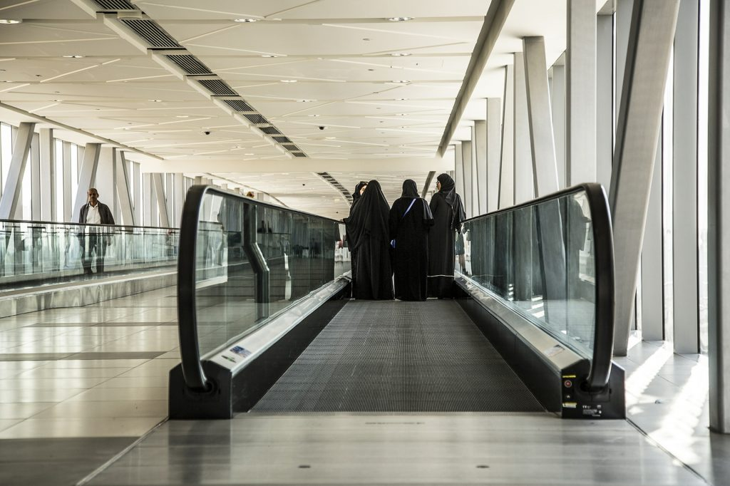 Arab women in airport