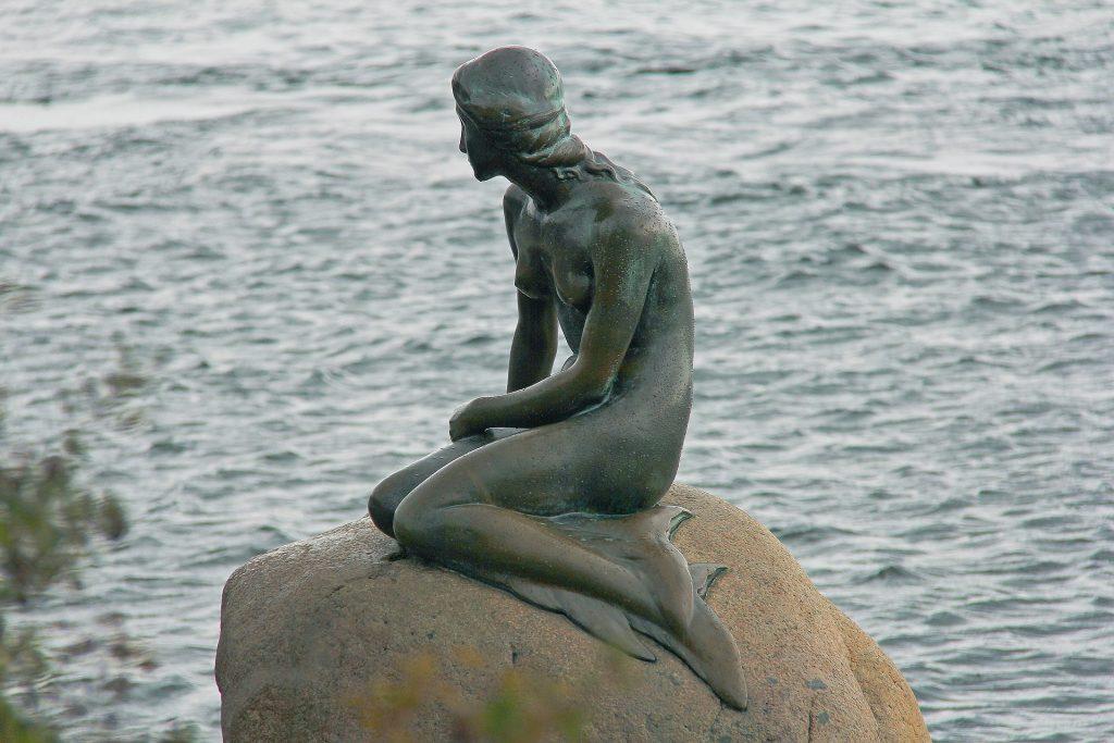 The Little Mermaid is a popular attraction in Copenhagen, Denmark.