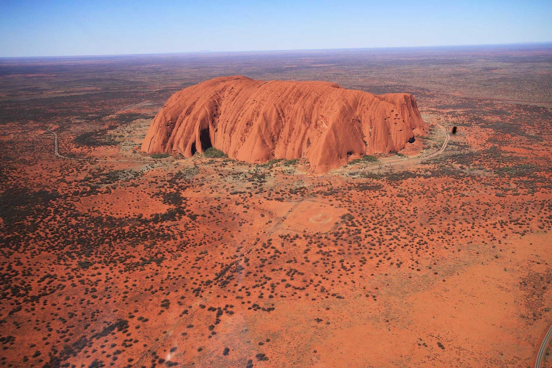 Birds-eye view of Uluru