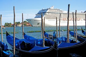 Large cruise ship in Venice, Italy