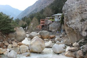 Gangotri and the Bhagirathi River, which flows south and becomes known as the Ganges. Photo: Trixie Pacis