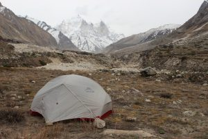 Our campsite with Parbat I:II behind. Photo: Trixie Pacis