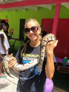 Author volunteering with animals.