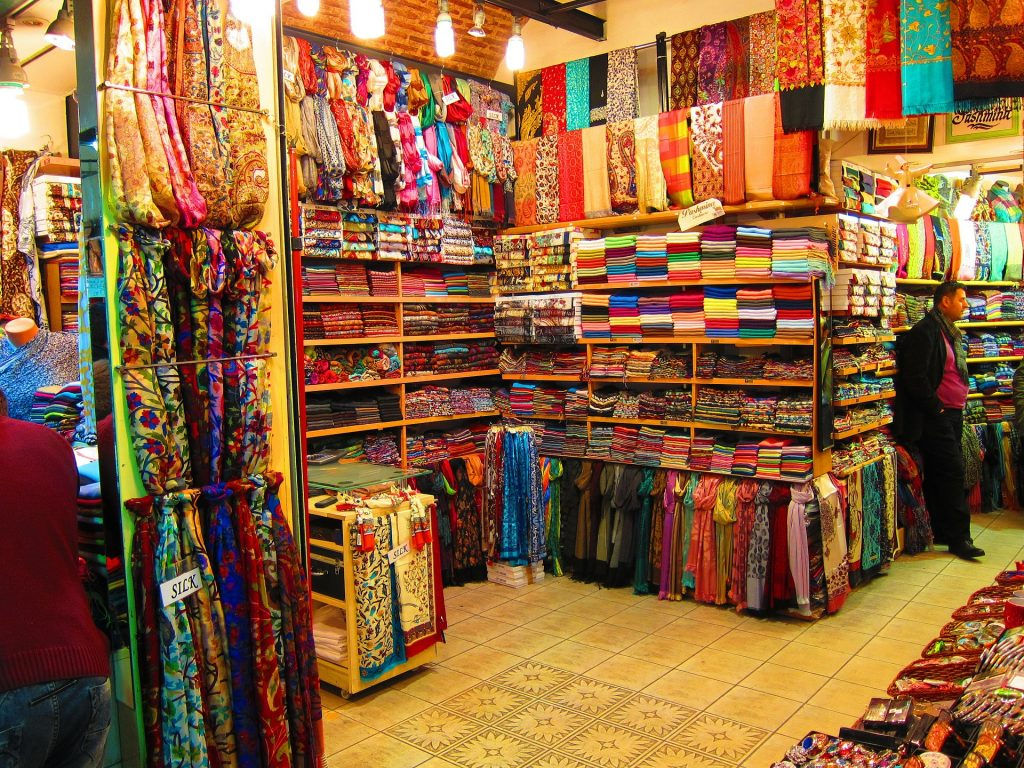 Silks and clothes in Turkish market