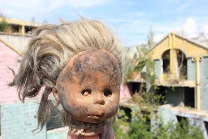 A child's doll damaged from the war in Sarajevo. Many children were casualties.