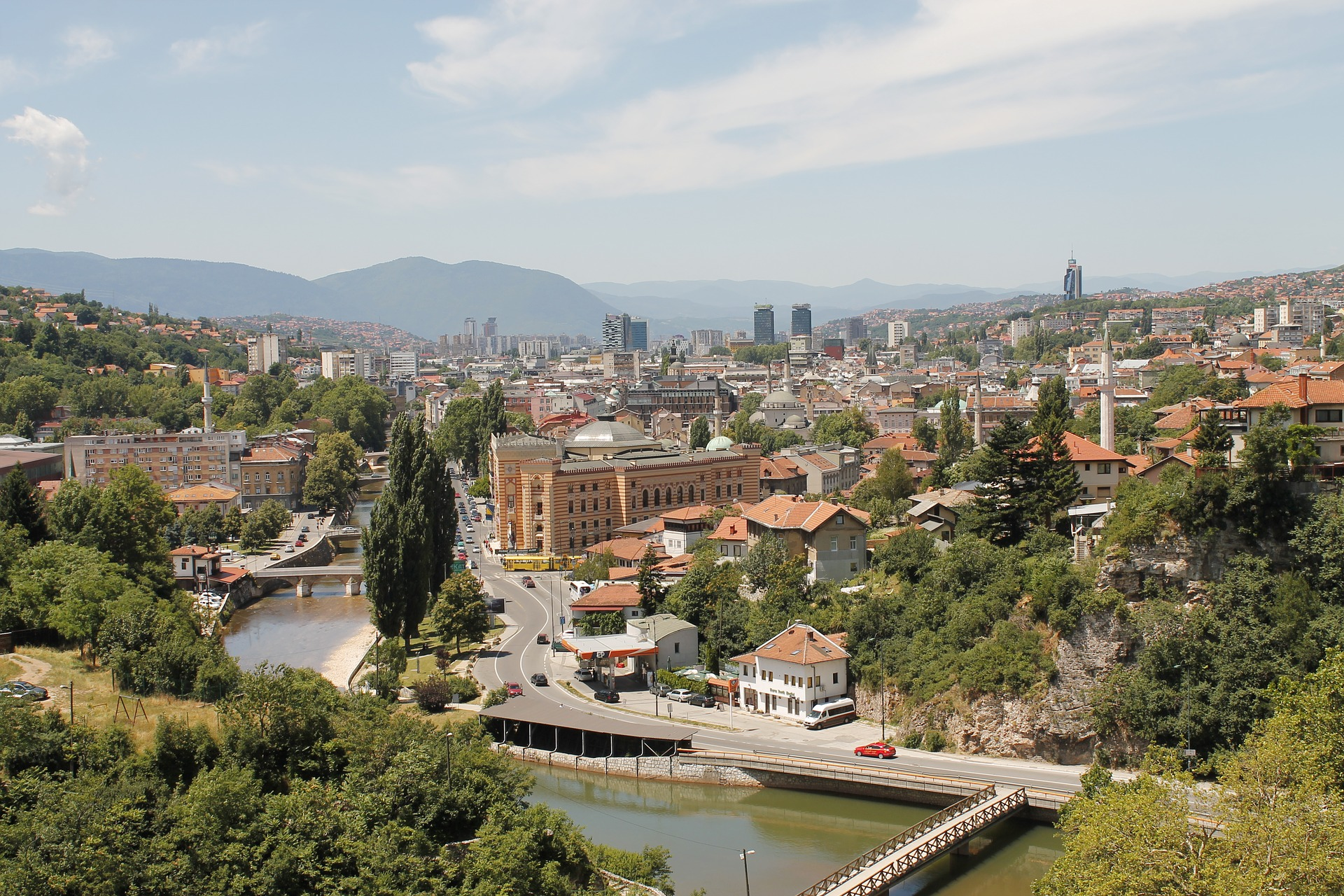 Bird's eye view of Sarajevo