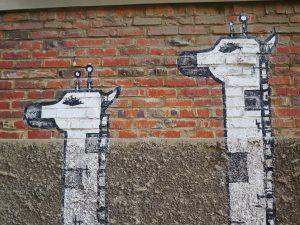 Mural of giraffes. South Korea