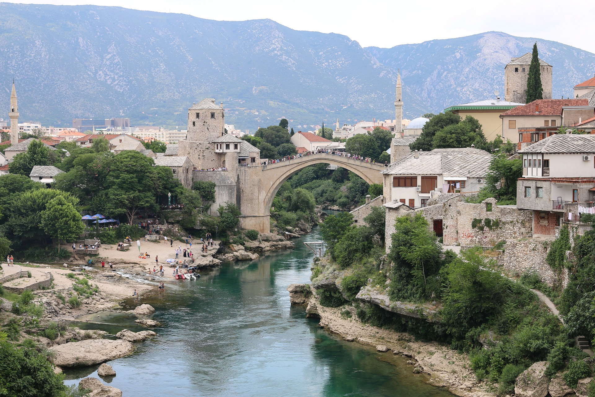 Mostar Bridge, is a rebuilt 16th-century Ottoman bridge in the historic city center of Mostar in Bosnia and Herzegovina that crosses the river Neretva and connects the two parts of the city.