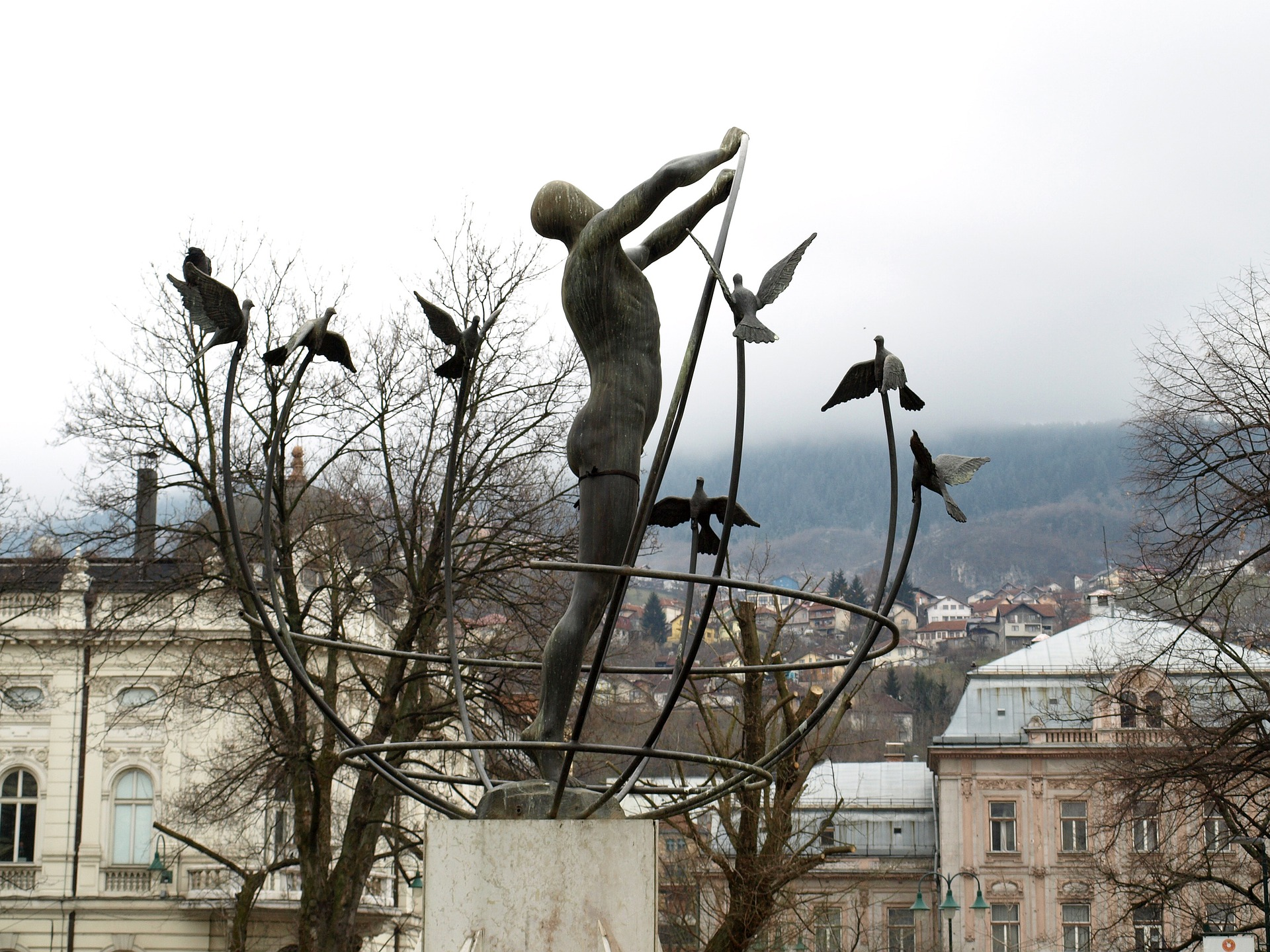 Sculpture depicting peace in Sarajevo.