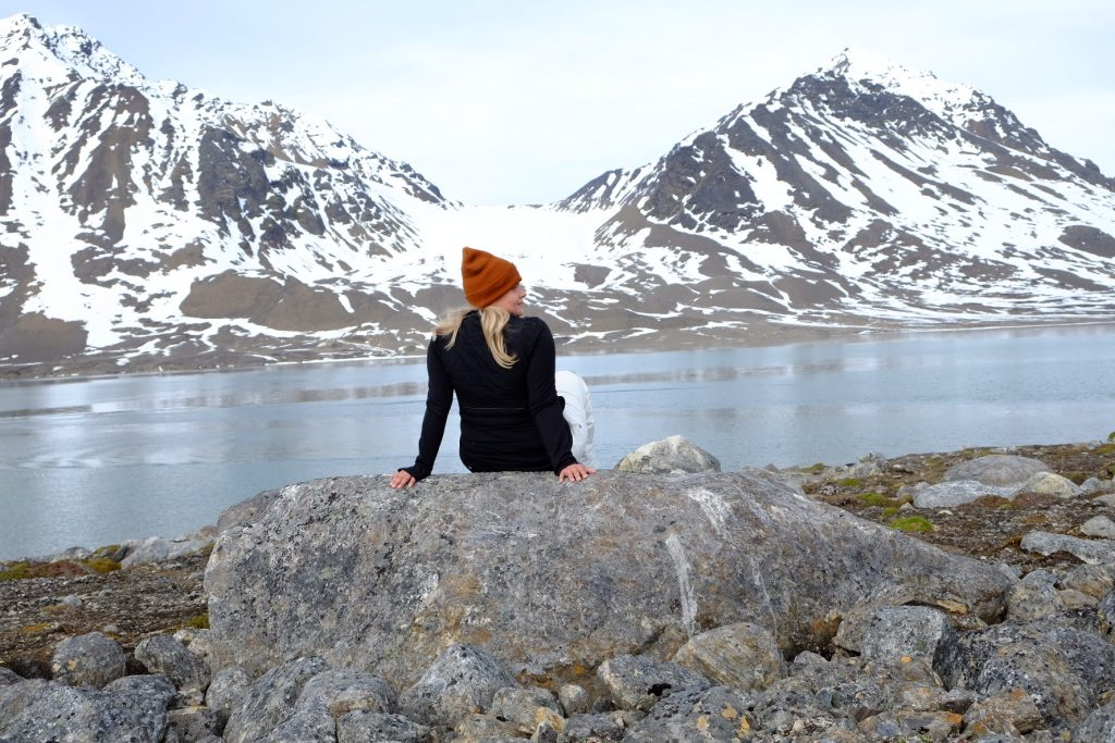Alicia-Rae Olafsson takes in the view at Möllerfjorden, in the Norwegian Arctic on the archipelago of Svalbard.